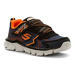 Skechers Boys\' Assemblers Protons Sneaker,Navy/Orange,US 2 M