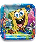 """American Greetings SpongeBob SquarePants 9"""" Square Plate, Party Supplies Novelty (8-Count)"""
