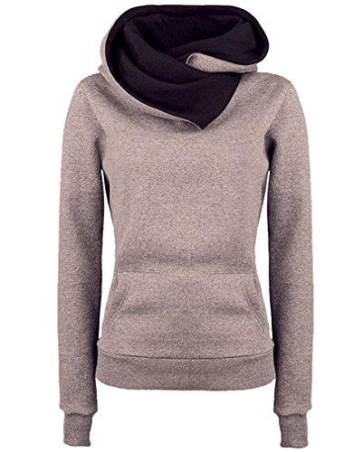 AIYUE Felpa con Cappuccio Donna Dolcevita Maglione Cappotto Caldo Casuale Giacca a Maniche Lunghe Tops Jumper Sweatshirt Autunno Inverno