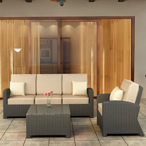 Forever Patio Barbados 3 Piece Patio Wicker Sofa Set with Beige Sunbrella Cushions (SKU FP-BAR-3SS-EB-SM)