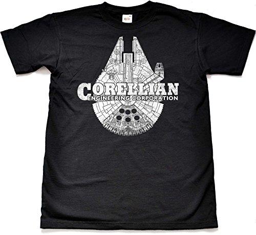 Teamzad Corellian Engineering Millennium Falcon Black Novelty Gift T Shirt Extra Extra Extra Large