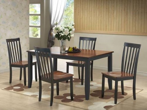 Boraam 21034 5-Piece Bloomington Dining Room Set, Black/Cherry
