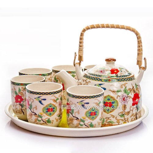 Ufingo-Jingdezhen Ceramic Loop Handle Hand Painted Flower And Bird Tea Set Tea Service