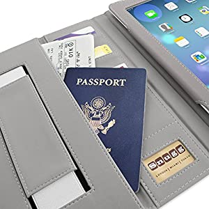 Snugg iPad 3 & 4 Case - Executive Smart Cover With Card Slots & Lifetime Guarantee (Grey Leather) for Apple iPad 3 & 4