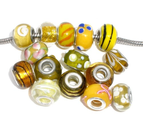 Ten Pack of Assorted Colors Glass Lampwork Murano Glass Beads for European Style Bracelets. Fits Pandora, Biagi, Troll, Chamilla and Many Others