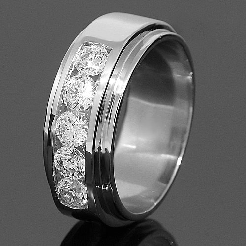 Platinum Mens Diamond Wedding Band 2.03 Ctw
