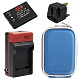 EZOPower EN-EL19 Battery + Home Charger with EU/ UK / Car Adapter + Blue Eva Case for Nikon COOLPIX S6800 S5300 S3600 S5200 S6500 S4200 S6400 S3300 S4300 S3100 S4100 Digital Camera