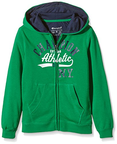 Champion-Felpa Giacca con cappuccio da ragazzo Hooded Full Zip, Ragazzo, Kapuzenjacke Hooded Full Zip Sweatshirt, Green/Black Iris, S