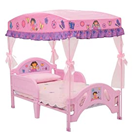 Dora The Explorer Toddler Bed With Canopy - Delta Enterprises