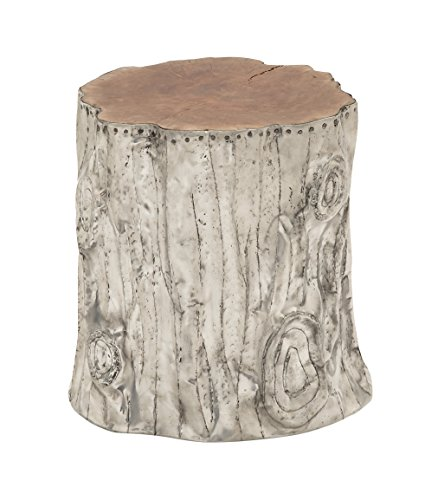 Deco 79 Teak Aluminum Foot Stool, 16 by 18-Inch (Tree Stump Side Table compare prices)