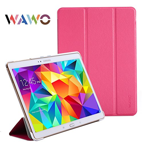 Wawo Creative Smart Tri-Fold Cover Case For Samsung Galaxy Tab S 10.5-Inch Tablet - Rose Red front-1050246