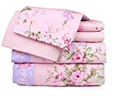 Microfiber Super Soft Luxury Floral 6-Piece Bed Sheet Set, Full, Pink Floral