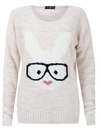 Aislinn Womens Long Sleeves Geek Rabbit Bunny Print Motif Knitted