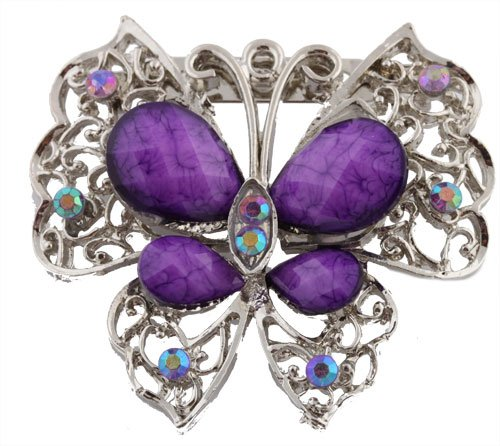 Ladies Silver with Purple Butterfly Brooch & Pin Pendant with Pear Shape Stones