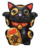 Black Maneki Neko Money Lucky Cat Chinese Japanese Statue
