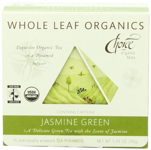 Choice Organic Whole Leaf Organics Jasmine Green Tea Pyramids, 15-Count, 1.05-Ounce Boxes (Pack of 3)