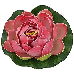 Veena Artificial Plastic Floating Dark Pink Lotus with Rubber Leaf - Set of 3 (10 cms Diameter, Pink)