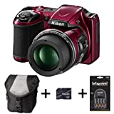 Nikon Coolpix L820 - Red + Case + 16GB Memory Card + Battery and Charger (16 MP, 30x Optical Zoom) 3 inch LCD