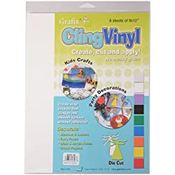Grafix 9-Inch-by-12-Inch Cling Film White, 6-Pack