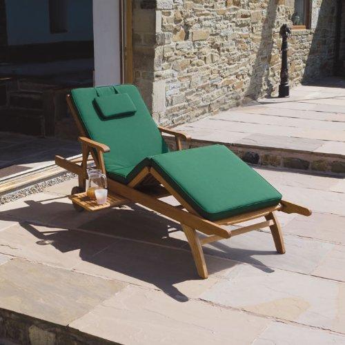 Cushion for Garden / Patio Amalfi Sun Lounger Chair Bed in Dark Green, Blue or Red Dark Green