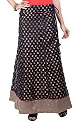 Rene Women's Black Chanderi Weave Flared Fit Long Skirt