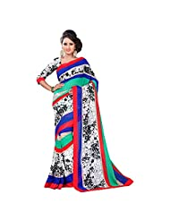 Agarwaal Creation Printed Tomato Red With Terquoise Color Border Saree For Women