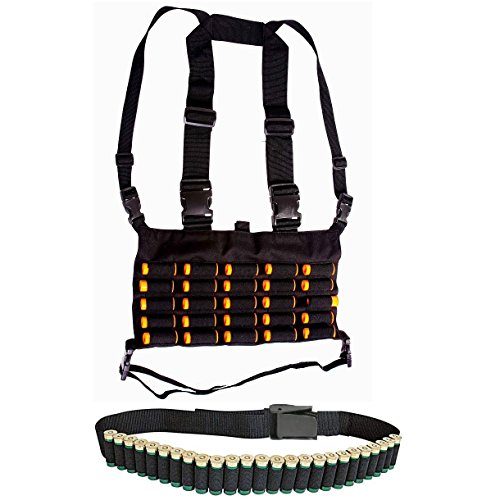 Ultimate Arms Gear Tactical Shotgun Package Holds 50 Shells Includes: Stealth Black Chest Rig 25 Round 12 & 20 Gauge Elastic Universal Shotgun Shot Shell Cartridge Ammo Ammunition Holder Carrier Harness Vest with Hidden Internal Document Map Utility Pocket + Tactical 25 Loop Shotshell Hunting Web Belt For 12 & 20 GA Shotgun Shells (Soe Micro Rig compare prices)