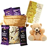 Cadbury Dairy Milk & Skylofts Chocolates Gift Pouch ( 10pcs) With Teddy & Birthday Card