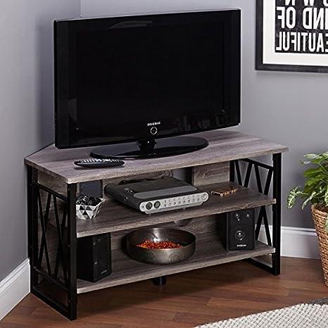 Corner TV Stand 3 Tier Entertainment Center Media Shelf Unit