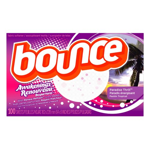 Bounce Fabric Softener Sheets, Awakenings, Paradise Thrill Scent, 100-Count, 11-Ounces Boxes (Pack Of 3)