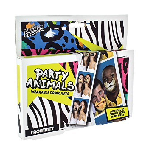 Party Animals Face Mats - 20 Double Sided Wearable Drinks Mats