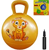 Space Hopper Ball: Yellow, 15in/38cm Diameter for Ages 3-4, Pump Included (Hop Ball, Kangaroo Bouncer, Hoppity Hop, Sit and Bounce, Jumping Ball)