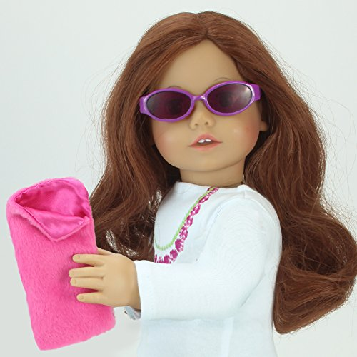 18 Inch Doll Sunglasses & Case 2 Pc. Set, Fits 18 Inch American Girl Dolls & More! by Sophia's, Hot Pink Furry Doll Eyeglass Case & Sunglasses - 1
