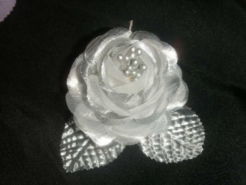 12 Silk Roses Wedding Favor Flower Corsage Silver