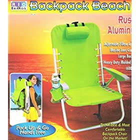 Rio Brand Backpack Beach Chair , Rust Proof Aluminum Frame and Large Backpack for All Your Gear