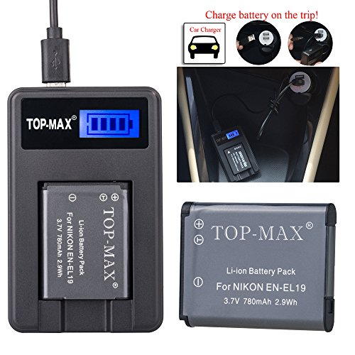 top-maxr-en-el19-rechargeable-li-ion-battery-usb-charger-mh-66-for-nikon-coolpix-s32s100-s2500-s2550