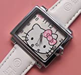 Unique Square Hello Kitty Wrist Watch Girls Gift – White