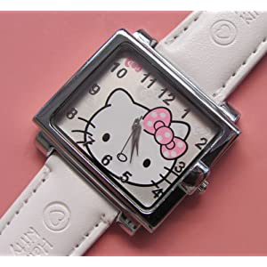 Unique Square Hello Kitty Wrist Watch Girls Gift - White