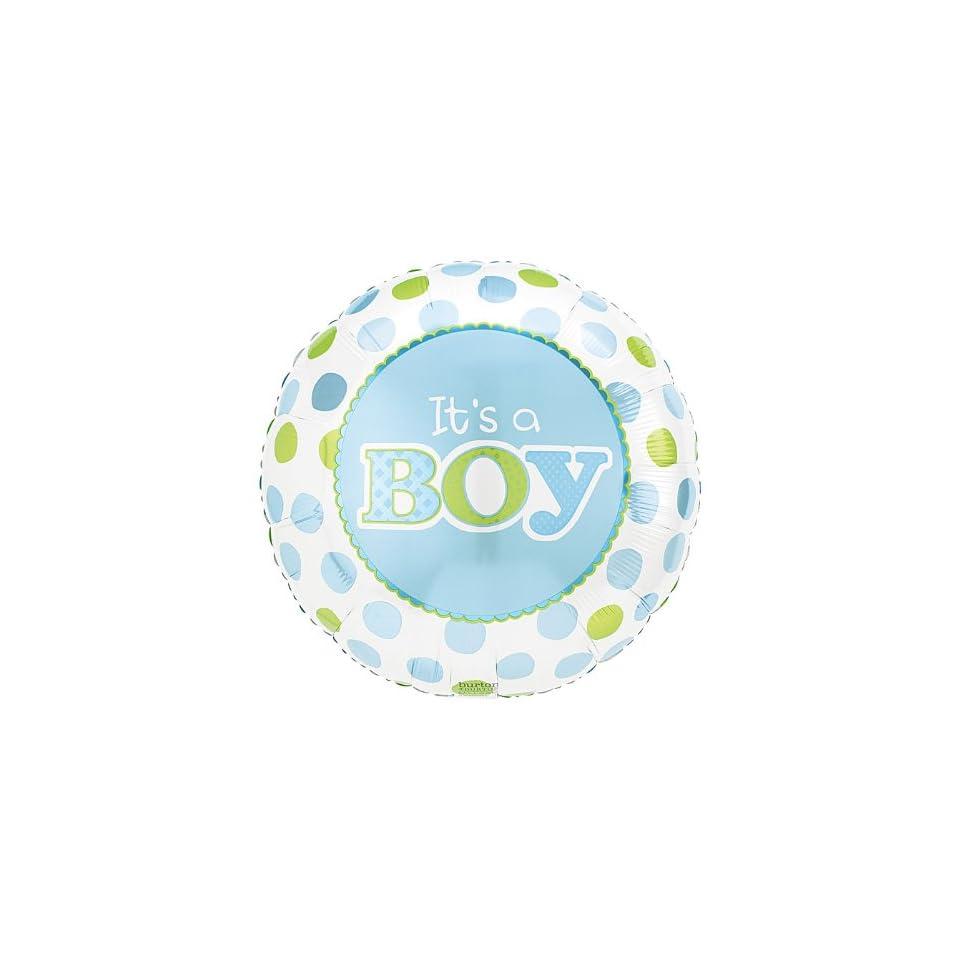 ITS A BOY Blue Green Polka Dots Large 18 ROUND Mylar Foil Balloon   Baby BOY Shower