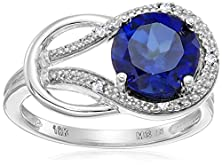 buy Created Sapphire And Diamond Accent Love Knot Ring In 10K White Gold, Size 5