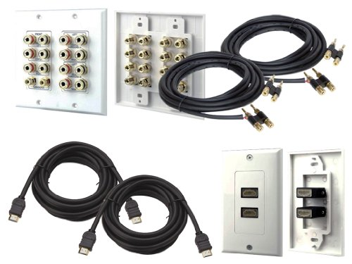 Pyle Full Audio/Video/Hdmi/Installation Package -- Phiw71 7.1 Home Theater 14 Post Binding/Banana Plug With Dual Rca Subwoofer Posts Wall Plate (White) + Phdmf2 Dual Hdmi Wall Plate + Pair Of Ppbb30 30Ft. Speaker Plug - Banana To Banana + Pair Of Phdm12 1