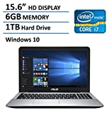 "2016 Newest ASUS 15.6"" Flagship Premium High Performance Laptop, Intel Core i7-5500U 2.4GHz, 6GB RAM, 1TB HDD, DVD-SuperMulti Drive, HDMI, VGA, Webcam, WIFI, Windows 10, Black"