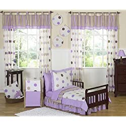 Purple and Brown Modern Polka Dots Toddler Girl Bedding 5 Piece Set