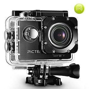 Pictek Caméra de Sport WIFI Embarquée 12MP Full HD 1080P Etanche, Kit d'Accessoires Offert