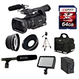 Panasonic AG-AC130APJ AVCCAM HD Hand-Held Camcorder + Rode NTG2 Shotgun Microphone + Panasonic VW-VBG6 Battery Pack + 64GB Card + 0.45X Wide Angle Lens + 2x Telephoto Lens + Deluxe Case + Tripod + Led Light + Travel charger + UV + CPL Filter