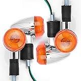 Amber Lens Chrome Housing Bullet Front Rear Turn Signal Blinker Indicator For Honda Kawasaki Yamaha BMW Harley Davidson Suzuki 4x