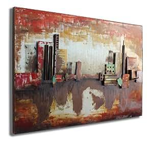 phoenix company capital city tableau en m tal en relief francfort 120 x 80 x 5 5 cm. Black Bedroom Furniture Sets. Home Design Ideas