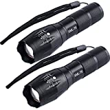 Tactical Flashlight 1000 LM[2 Pack] T6 High Lumens Portable and Small Outdoor Water Resistant LED Torch Zoomable Adjustable Focus and 5 Light Modes