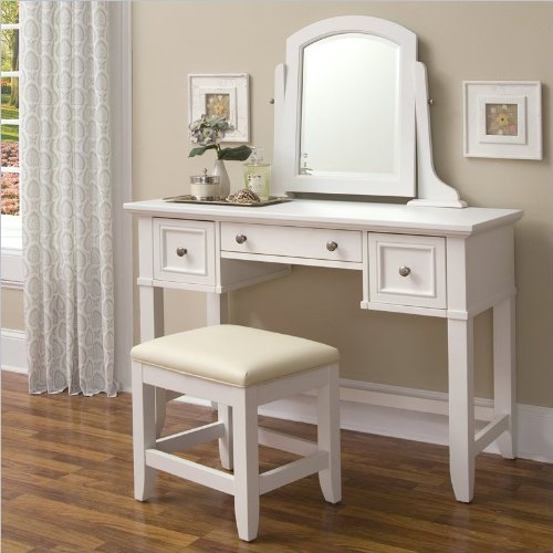 Home Styles 5530-72 Naples Vanity Table and Bench, White Finish