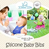 Premium Silicone Baby Bibs - Soft, Waterproof, Always Keeps Its Shape - GREEN & BLUE | Stain Resistant - Wipe Clean, Fast Drying | FREE Door Slam Guard